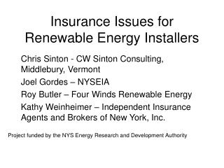 Insurance Issues for Renewable Energy Installers
