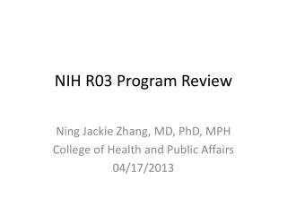 NIH R03 Program Review