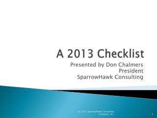 A  2013  Checklist