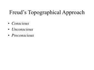 Freud s Topographical Approach