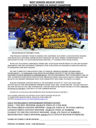 WEST GENESEE WILDCAT HOCKEY 2011 SECTION THREE ICE HOCKEY CHAMPIONS