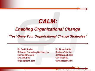 "CALM: Enabling Organizational Change "" Test-Drive Your Organizational Change Strategies """