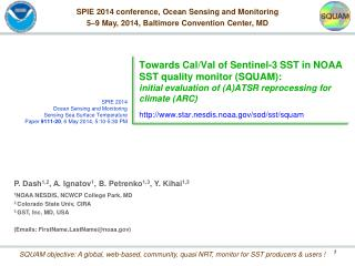 SPIE 2014 conference, Ocean Sensing and Monitoring 5–9 May, 2014, Baltimore Convention Center, MD