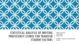 Statistical Analysis of Writing Proficiency scores for transfer student factors