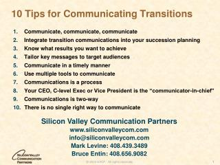 10 Tips for Communicating Transitions