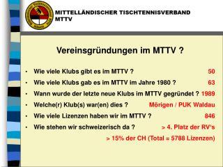 Wie viele Klubs gibt es im MTTV ? Wie viele Klubs gab es im MTTV im Jahre  1980  ?