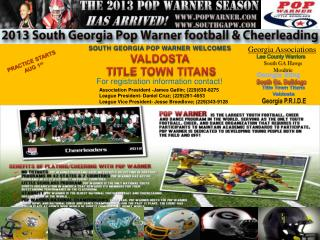 SOUTH GEORGIA POP WARNER WELCOMES  VALDOSTA  TITLE TOWN TITANS