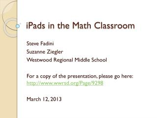 iPads in the Math Classroom