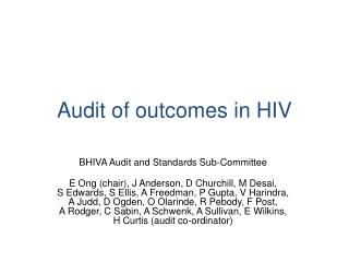 Audit of outcomes in HIV