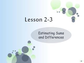 Lesson 2-3
