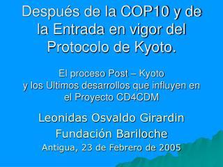 Despu s de la COP10 y de la Entrada en vigor del Protocolo de Kyoto.  El proceso Post   Kyoto y los Ultimos desarrollos