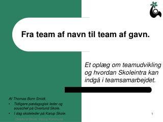 Fra team af navn til team af gavn.