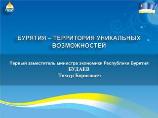 Первый заместитель министра экономики Республики Бурятия  БУДАЕВ  Тимур Борисович