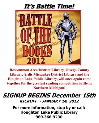 SIGNUP BEGINS  December 15th KICKOFF  - JANUARY  14, 2012 For more information, stop by or call: