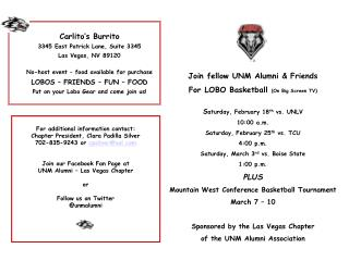 Join fellow UNM Alumni & Friends For LOBO  Basketball  (On Big Screen TV )