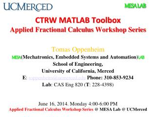 CTRW MATLAB Toolbox Applied Fractional Calculus  Workshop Series