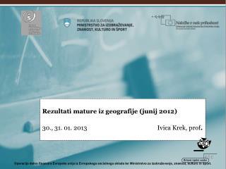 Matura iz geografije junij 2012