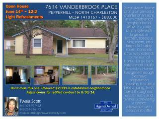 7614  Vanderbrook Place Pepperhill  - North Charleston MLS# 1410167 - $88,000