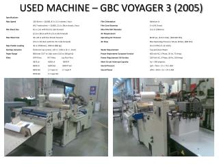 USED MACHINE – GBC VOYAGER 3 (2005)
