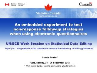 UN/ECE Work Session on Statistical Data Editing