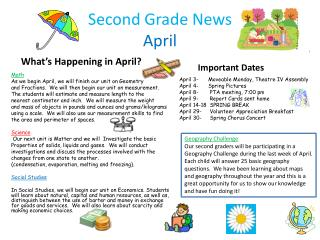Second Grade News April