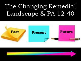 The Changing Remedial Landscape & PA 12-40