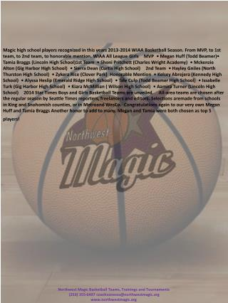 Northwest Magic Basketball Teams,  Trainings  and  Tournaments