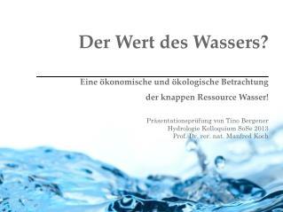 Der Wert des Wassers? Eine ökonomische und ökologische Betrachtung der knappen Ressource Wasser!