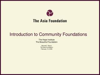 Introduction to Community Foundations
