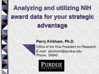 Analyzing and utilizing NIH award data for your strategic advantage