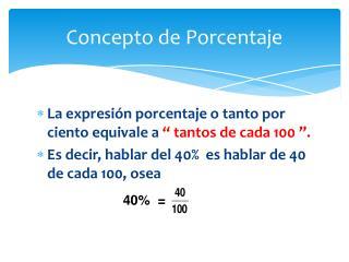 Concepto de Porcentaje