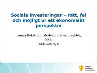 Sociala investeringar – rätt, fel och möjligt ur ett ekonomiskt perspektiv