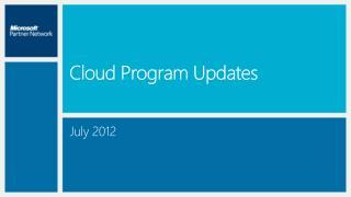 Cloud Program Updates