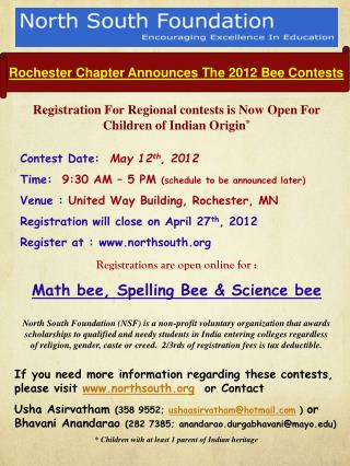 Rochester Chapter Announces  T he 2012 Bee Contests