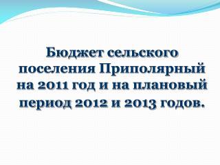 Б юджет сельского поселения Приполярный  на  201 1 год и на плановый период  201 2 и  201 3 годов.