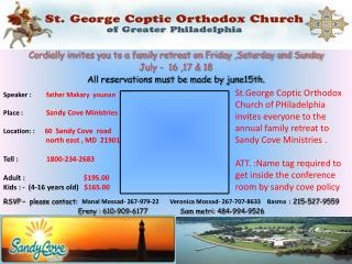 Cordially invites you to a family retreat on Friday ,Saturday and Sunday  July -  16 ,17 & 18