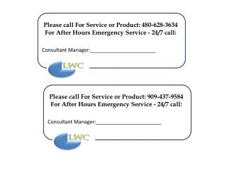 Please call For Service or Product:  480-628-3634 For After Hours Emergency Service - 24/7 call: