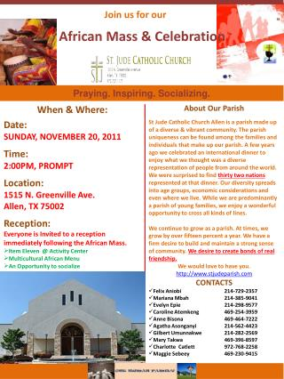 Join us for our      African Mass & Celebration