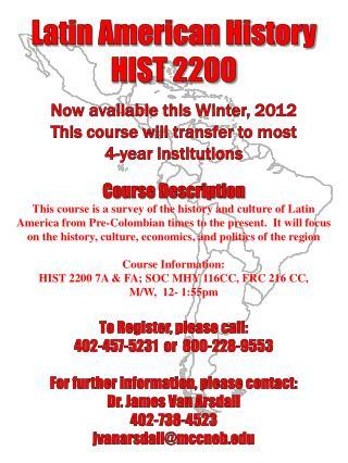 Latin American History HIST 2200