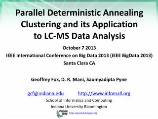 Parallel Deterministic Annealing Clustering and its Application  to  LC-MS Data Analysis