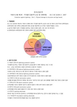 한국산업규격 피뢰시스템 - 제 3 부  :  구조물의 물리적 손상 및 인명위험       KS C IEC 62305-3 : 2007