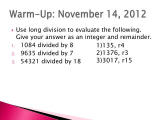 Warm-Up: November 14, 2012