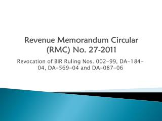 Revenue Memorandum Circular (RMC) No. 27-2011