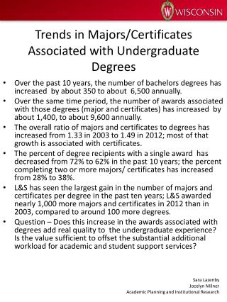 Trends in Majors/Certificates Associated with Undergraduate Degrees