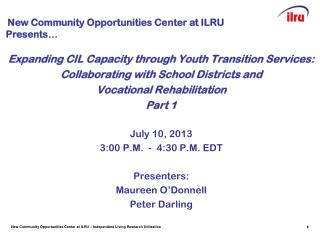 Expanding CIL Capacity through Youth Transition Services: