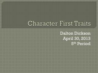 Character First Traits