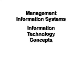 Management Information Systems Information Technology Concepts