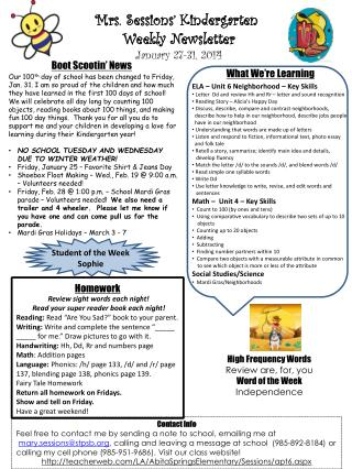 Mrs. Sessions� Kindergarten  Weekly Newsletter January 27-31 , 2014