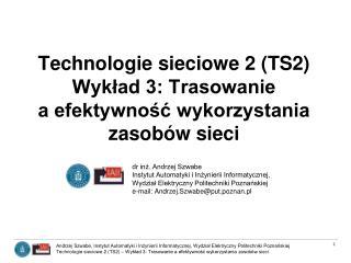 Technologie sieciowe 2 (TS2)  Wykład 3: Trasowanie  a efektywność wykorzystania zasobów sieci