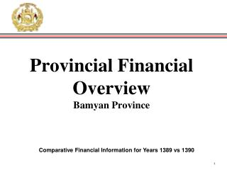 Provincial Financial Overview Bamyan Province
